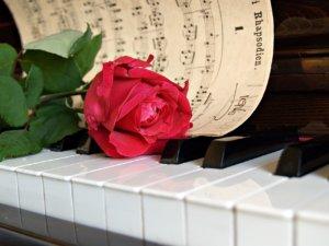 piano avec une rose romantique